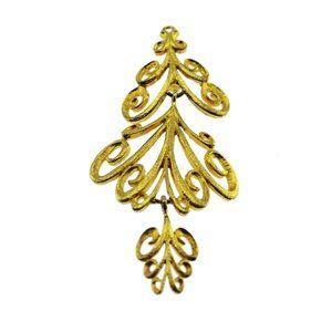 Large Gold Filigree Dangling Brooch